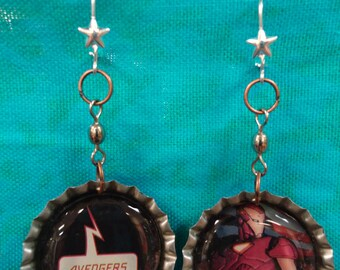 AVENGERS Iron Man comic book bottle cap earrings - They're Double sided & spin!! Womens Jewelry Geek Wear Nerd Marvel Upcycle Red