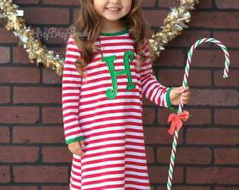 Girls Christmas nightgown gown embroidered personalized custom initial monogram night gown red and white stripe green letter