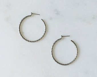 Vintage Delicate Thin Silver Braided Minimal Hoop Earrings 1""
