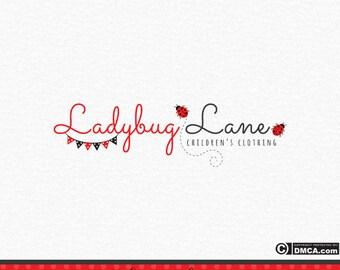Premade Ladybird Logo, Ladybug Logo, Insect Logo, Children's Logo, Nursery Logo, Gardening Logo, Photography Logo, Red and Black logo Design