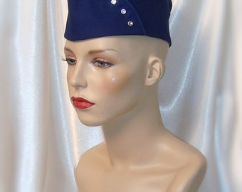 Navy Blue Army Side Cap, Retro Style Military Hat, Steampunk Hat, Garrison Side Cap