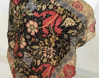 Vintage Metropolitan Museum of Art William Morris Compton Square Floral Black Silk Scarf Made in Italy Wearable Art FREE US PRIORITY Ship
