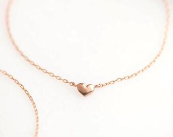 14k Rose Gold Heart Bracelet, tiny heart chain bracelet, valentines day gift, mothers day gift, rose gold small heart bracelet, hea-b101 RTS