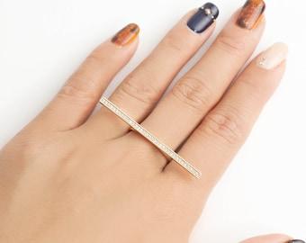 long bar diamond ring, 14k gold simple long bar diamond pave ring,