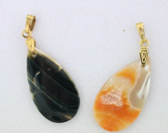 2 PCS VINTAGE Abalone Shell Pear Drop Pendants/Charms with Gold Bails 30mm