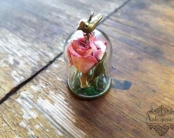 rose glass dome necklaceterrarium flowerreal dried by antogonia. Black Bedroom Furniture Sets. Home Design Ideas