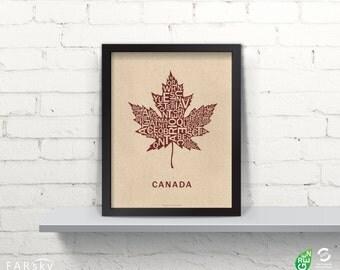 Far Sky Typographic Canadian Maple Leaf