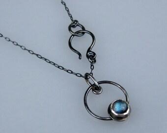 Labradorite Necklace | Oxidized Sterling Silver | Mod Circle Pendant | Modern Minimalist | Bohemian Jewelry | Boho Necklace | Made to Order