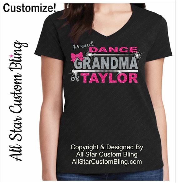 Custom Proud Dance Grandma Glitter And Bling Rhinestone Shirt
