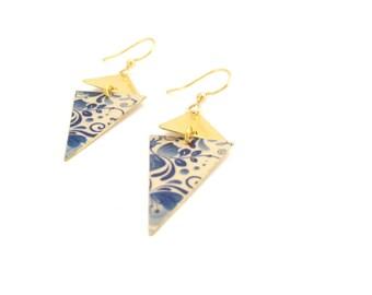 Vintage porcelain | Earrings Golden geometric large diamonds - handmade