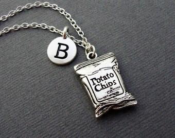 Potato Chips Necklace, Personalized Bag of Chips Keychain Keyring, Junk Food Bangle Bracelet, Initial Charm Crisps Necklace, Salty Snacks