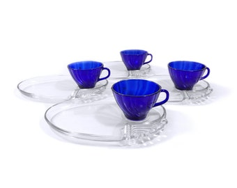 Vintage Glass Snack Sets with Cobalt Swirl Cups & Clear Glass Plate, Includes 4 Oval Plates and 4 Glass Cups