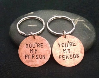 "PAIR of ""You're My Person"" Key Chains --- Grey's Anatomy"
