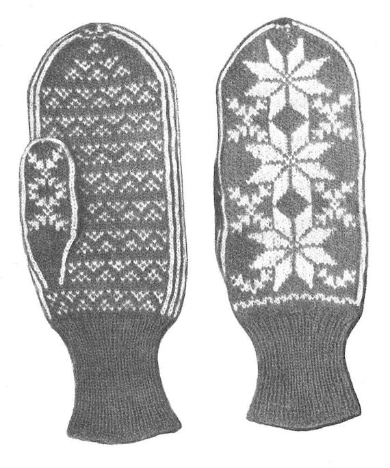 KNITTING PATTERN Vintage Fair Isle Star Snowflake Mittens