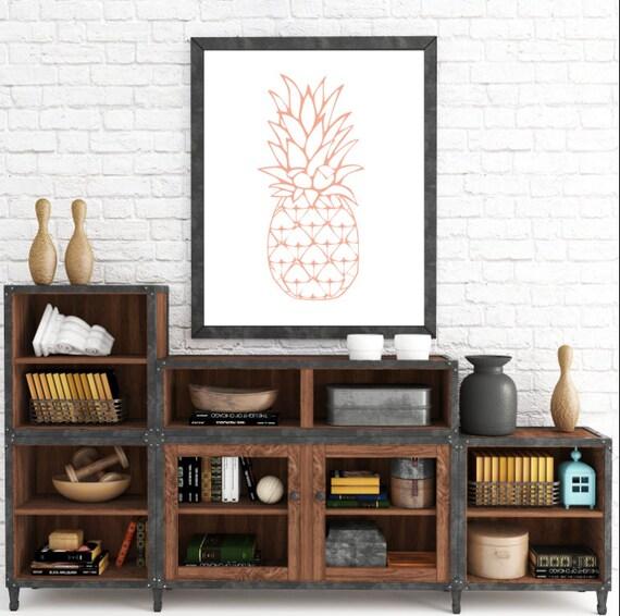 Coral Pineapple, Pineapple Art, Coral Wall Art, Pineapple Print, Coral Wall Print, Coral Art, Coral Summer, Printable Wall Art, Pineapple