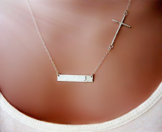 sterling silver personalized cross bar necklace  custom stamped