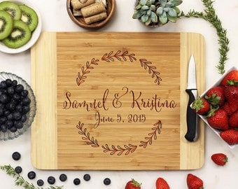 Personalized Cutting Board, Custom Cutting Board, Engraved Cutting Board, Leaf Housewarming Anniversary Bamboo Wood --21050-CUTB-001