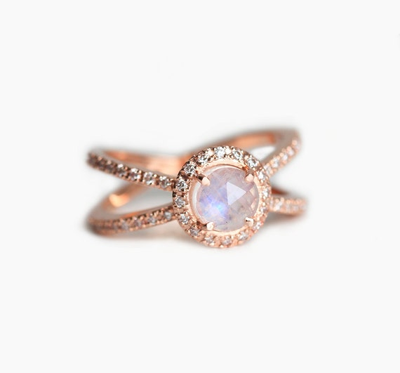 rose gold engagement ring moonstone diamond ring rose by