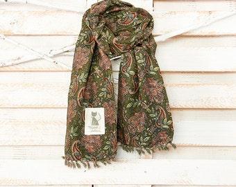 Kaki print cashmere-blend scarf