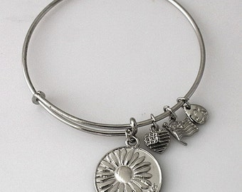 Double Sided Daughter Sunflower Adjustable  Wire Bracel & 3 Smaller Charms