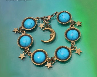 Turquoise Galaxy Bracelet, Brass Bottle Caps Fun Bracelet, Sky Blue Turquoise Bracelet, Blue Howlite Bracelet, Star Moon Bracelet