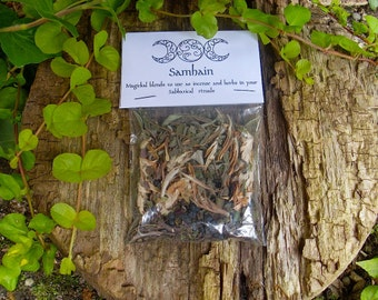 SAMHAIN - All Hallows Eve. Blended  Ritual Herbs - Sabbat Ritual blend -Incense for spells, ceremony and invocation. Halloween