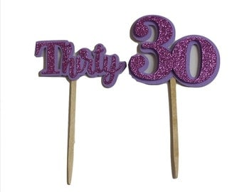 Purple  Glitter Thirty Cupcake Toppers, Set of 12