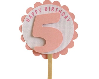 Shimmer Pink 5th birthday Cupcake Toppers, S12, Birthday, Pink Shimmer, Cupcake Decor, Handcrafted Party Decor, Party Supplies