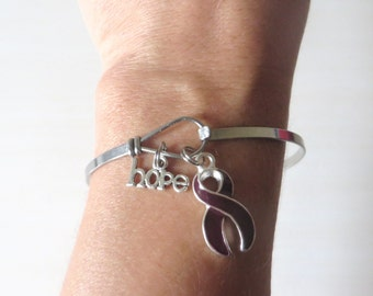 Burgundy LOVE HOPE Customizable Awareness Ribbon Charm Stainless Steel Bangle Bracelet With Optional Love Hope and Letter Charm