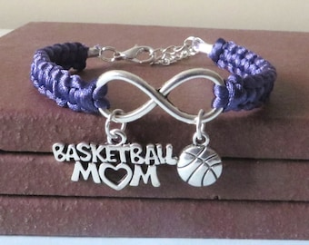 Basketball Mom Athletic Charm Infinity Bracelet Coach Charm You Choose Your Cord Color(s)
