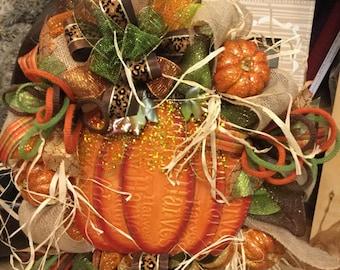 Pumpkins Pumpkins Pumpkins Mesh Wreath