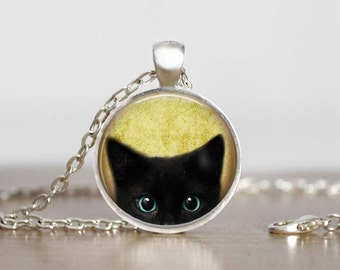Black Cat  Pendant..Peeping Cat Pendant, Stocking Stuffer Idea