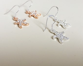 Starfish Earrings - Starfish Dangles - Crystal Starfish Earrings - Rose Gold Starfish Earrings - Silver Starfish Earrings - Rose Gold Stars