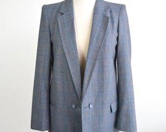 1970s Plaid Blazer-Preppy Jacket-Vintage Wool Jacket