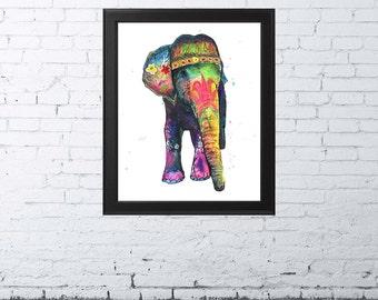 Kundala - Watercolor Fine Art Print, Giclee Print, Elephant