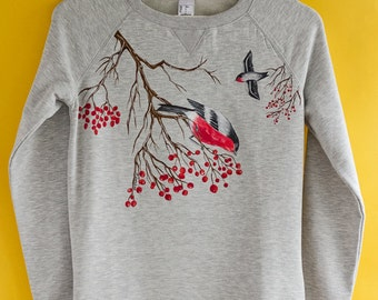 Hand painted Gray Women Sweatshirt with birds, winter clothing, gift for her: Bullfinches and rowan