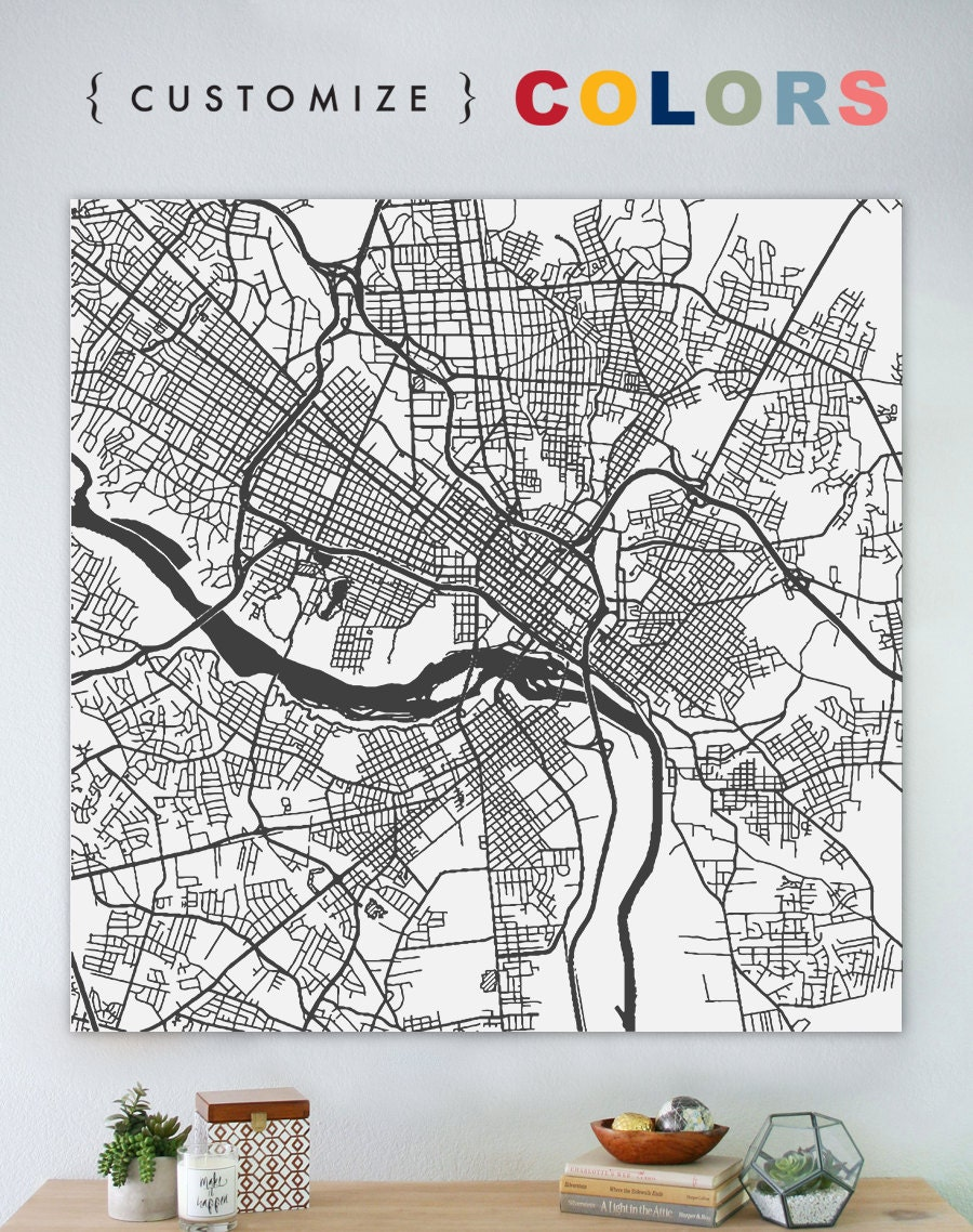 Map of Richmond large canvas city maps