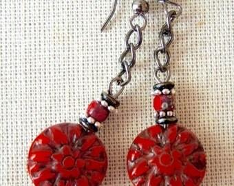 RED DAHLIA Dangle/Drop EARRINGs Czech glass flowers hypoallergenic Surgical Stainless Steel leverbacks Boutique Bracelets of Blue Ridge