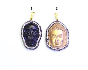 Carved Jade Pendants -- With Pave CZ Rhinestone diamonds Edge Charms Skull God Pendant Wholesale Supplies YHA-299
