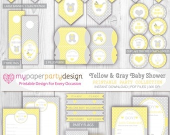 Printable Party Pack- Its A Boy- Baby Shower- Yellow and Gray Polka Dots- INSTANT DOWNLOAD! Invitation, Banner, Toppers, wish for baby Cards