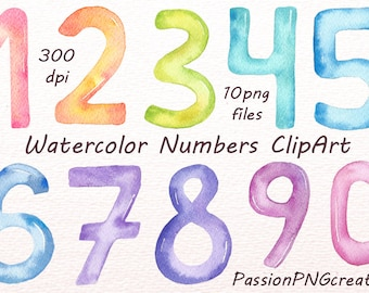 Watercolor Numbers Clipart, Numbers clip art, Digital numbers clipart, instant dawnload, PNG, for Personal and Commercial Use