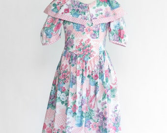Vintage Floral Collared Tea Party Dress (Girls Size 8)