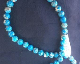 "Aqua Terra Jasper; 8mm; 48 beads per strand; 16"" strand"