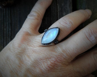 Moonstone ring, oxidized ring, 925 silver ring, gemstone ring, rainbow moonstone ring, moonstone jewelry, size 8 ring,boho ring,marquise