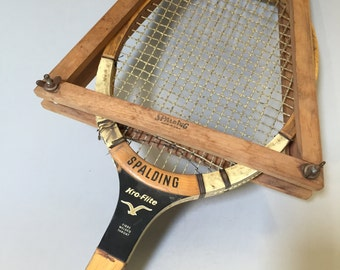 SPALDING TENNIS RACQUET and Press, Vintage Spalding Racquet, vintage sports equipment, wood tennis racquet, vintage movie prop, outdoor