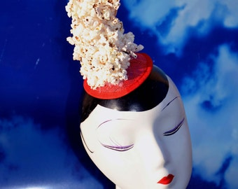 Spilled Popcorn Red Costume Fascinator Headpiece Hat
