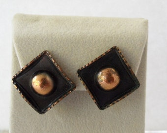 1950s Earrings Renoir Jewelry Modernist Earrings Mid Century Modern Jewelry Renoir Copper Jewelry Clip on Earings Designer  Renoir Earrings