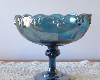 Indiana Glass Garland Pedestal Bowl in Iridescent Blue ~ Carnival Glass Color ~ Compote Dish ~ Retro ~ Centerpiece