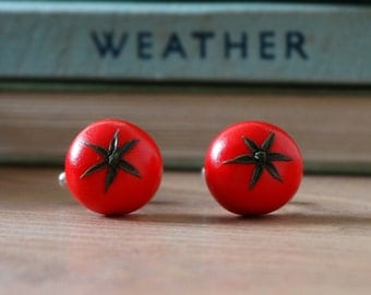 By the Shed Tomato Red Fruit Cufflinks - Silver Plated - Allotment - Vegetarian - Gardening - Vegetable - Fruit - Summer - Fun
