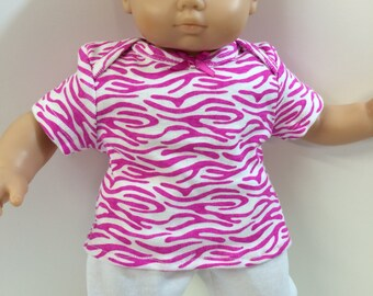 "15 inch Bitty Baby Clothes, 2-Piece Outfit, Cool ""Bright Pink Print"" Top, White Pants, 15 inch Bitty Baby & Twin, Fits 16 inch Cabbage Patch"